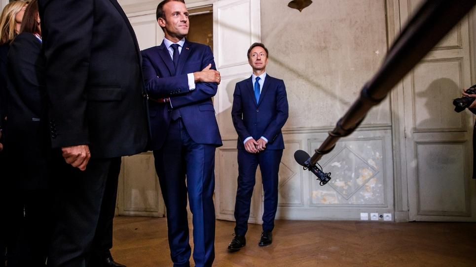 Emmanuel Macron et Stéphane Bern à la Villa Viardot à Bougival le 15 septembre 2018 pour les Journées européennes du patrimoine