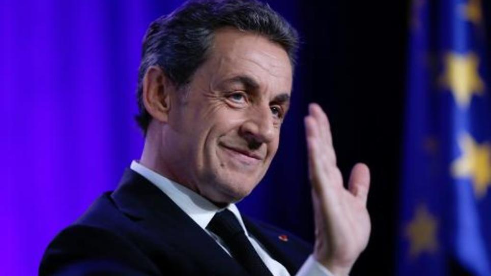 Le président de l'UMP Nicolas Sarkozy à  Asnières-sur-Seine en banlieue parisienne, le 24 mars 2015