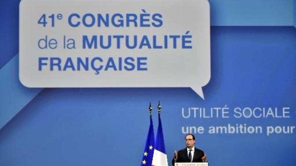 Le président François Hollande au 41ème Congrès de la Mutualité française à Nantes, le 12 juin 2015
