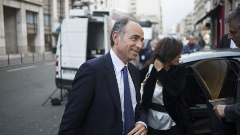 Le patron de l'UMP Jean-Francois Copé à son arrivée au siège du parti le 25 mai 2014 à Paris