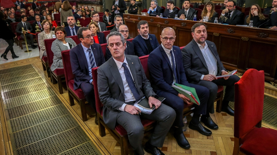Leaders séparatistes catalans à l'ouverture de leur procès le 12 février 2019 à Madrid