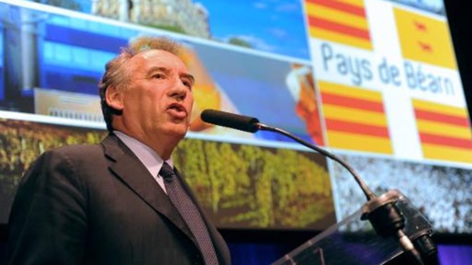 Le président du MoDem François Bayrou durant une conférence de presse à Pau, Pyrennées-Atlantiques, le 10 juillet 2014