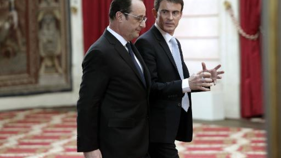 Le président François Hollande et le Premier ministre Manuel Valls le 5 février 2015 à l'Elysée à Paris