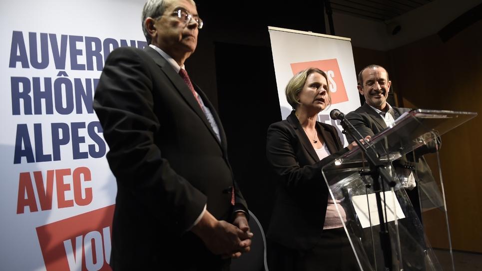 Cécile Cukierman (au centre), à Lyon, le 7 décembre 2015