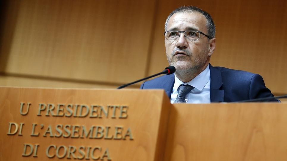 Jean-Guy Talamoni, président indépendantiste de l'Assemblée de Corse, le 28 juin 2018 à Ajaccio