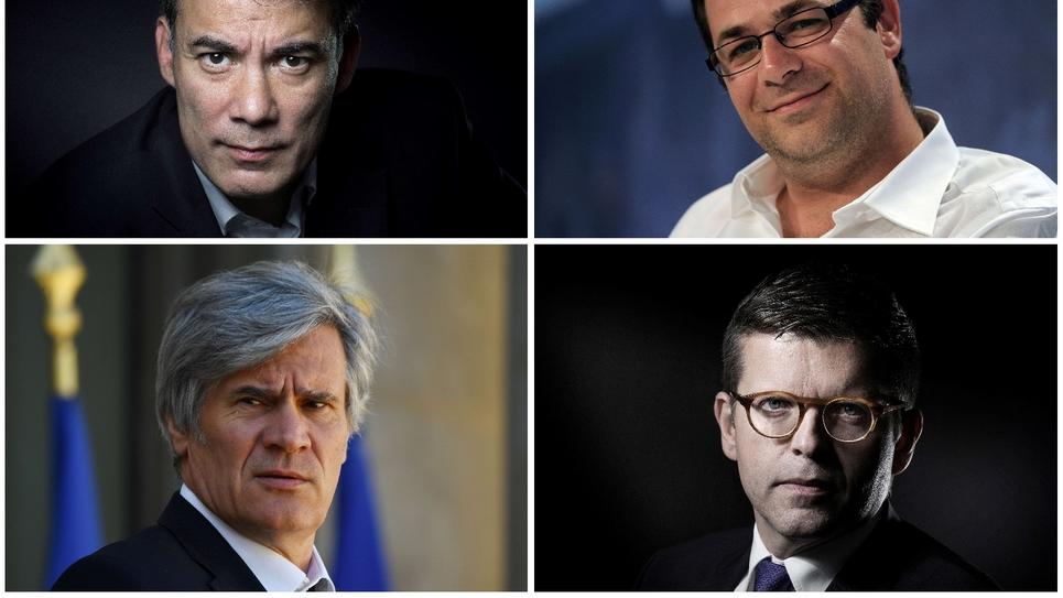 Les quatre candidats déclarés dans la course à la tête du PS (De G à D et de haut en bas) : Olivier Faure, Emmanuel Maurel, Stéphane Le Foll et Luc Carvounas