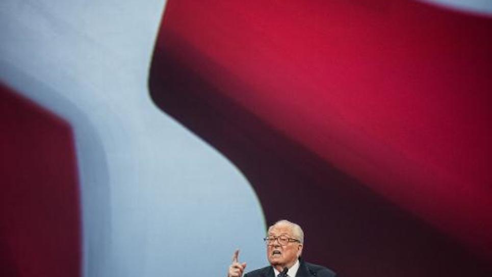 Le président d'honneur du Front national Jean-Marie Le Pen le 29 novembre 2014 à Lyon durant le 15e congrès du parti