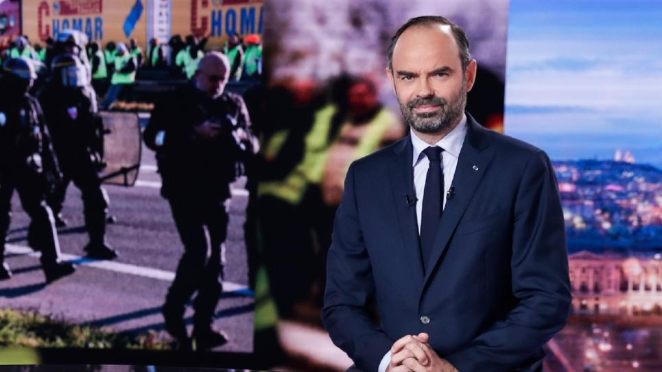 Le Premier ministre Edouard Philippe sur le plateau du 20H de TF1, le 6 décembre 2018 à Boulogne-Billancourt