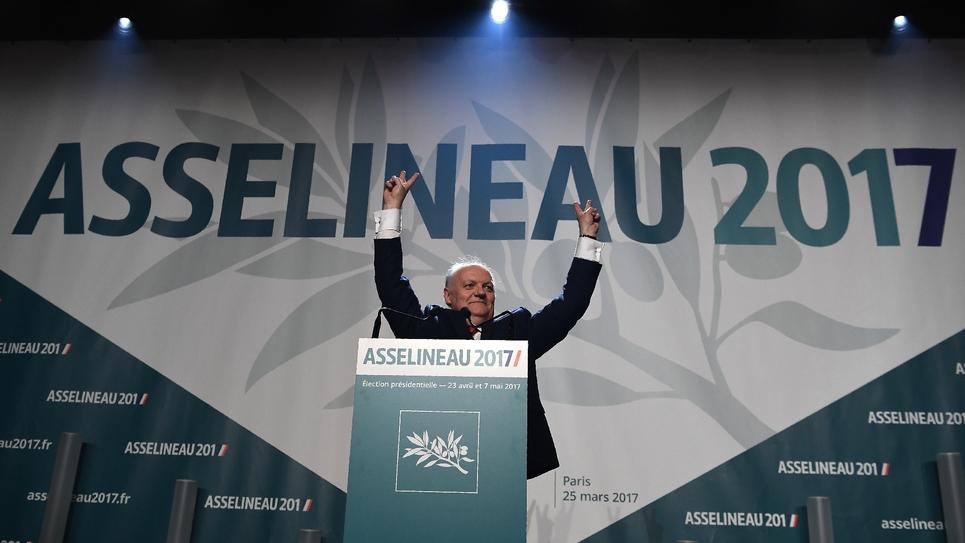 Le candidat à la présidentielle François Asselineau, le 25 mars 2017