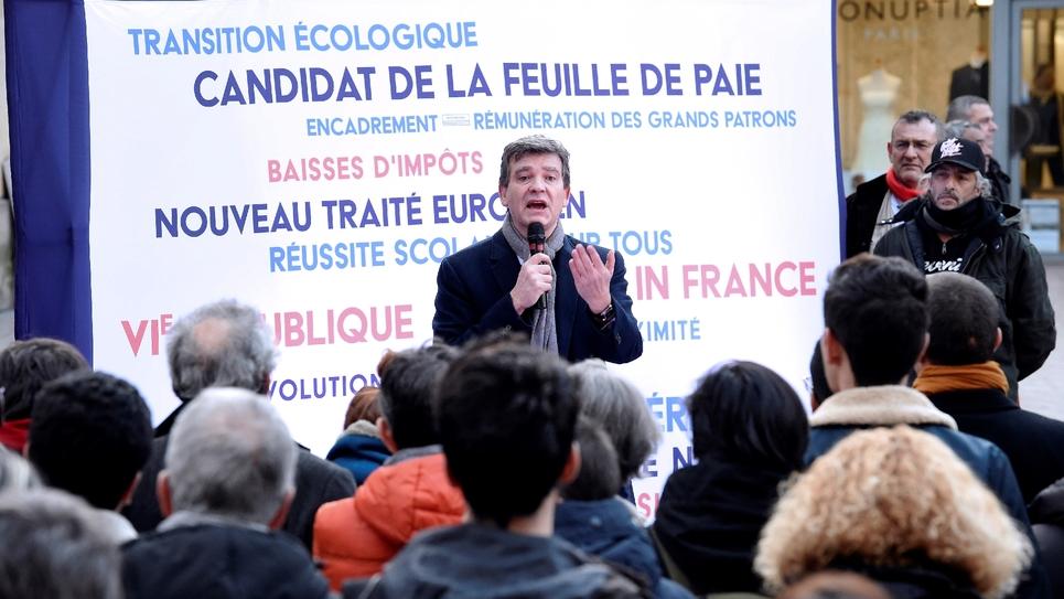 Le candidat à la primaire du PS Arnaud Montebourg à Bègles, en France, le 13 janvier 2017