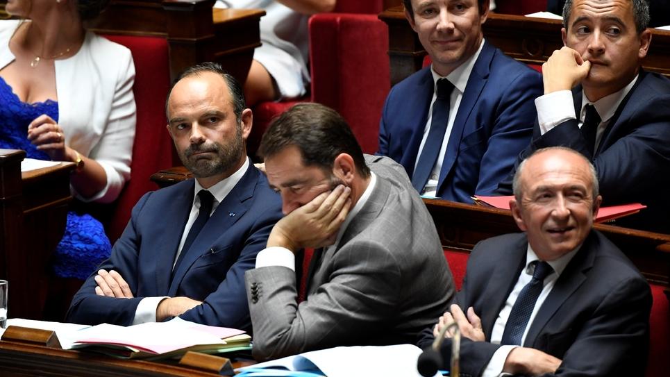 Édouard Philippe, Christophe Castaner et Gérard Collomb dans l'hémicycle, le 24 juillet 2018