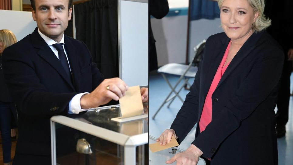 Emmanuel Macron et Marine Le Pen votent, respectivement au Touquet et à Hénin-Beaumont, le 7 mai 2017