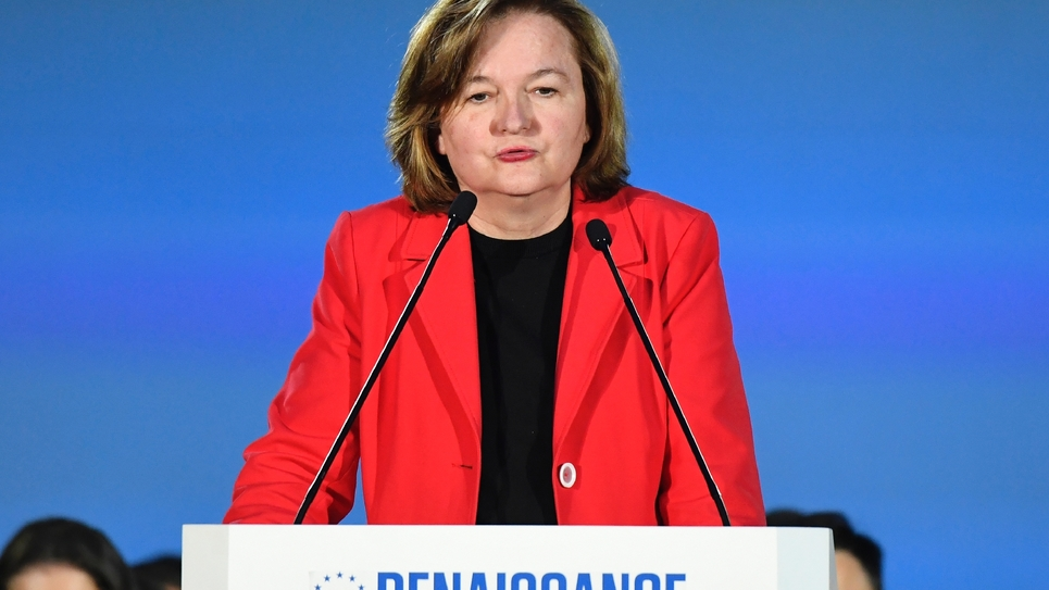 Nathalie Loiseau lors d'un meeting le 6 mai 2019 à Caen