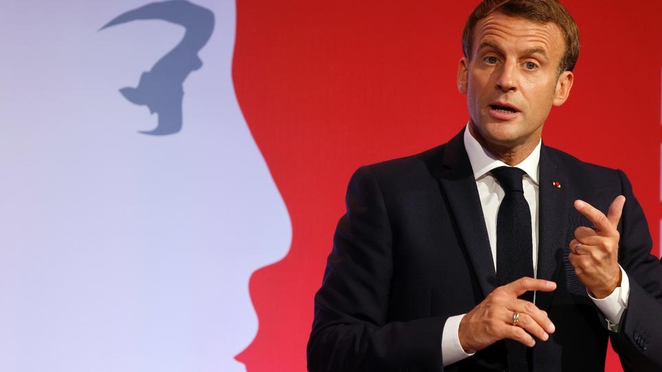 Emmanuel Macron lors de son discours aux Mureaux le 2 octobre 2020 sur le séparatisme