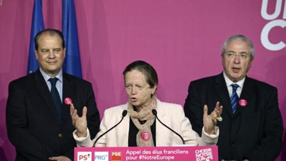 Pervenche Bérès, présidente de la délégation socialiste française au Parlement européen, en campagne à Paris, le 14 mai 2014