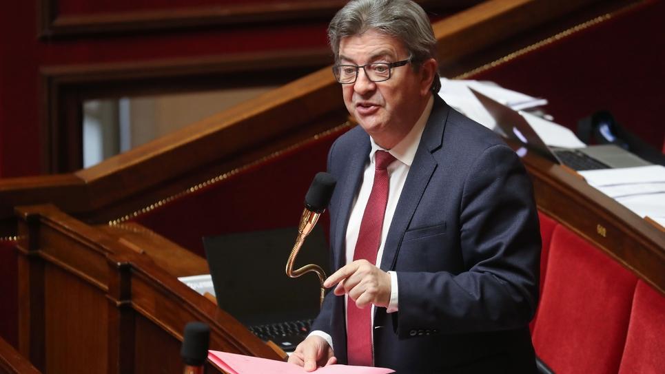 Le chef de file des Insoumis, Jean-Luc Mélenchon à l'Assemblée nationale le 21 mars 2020