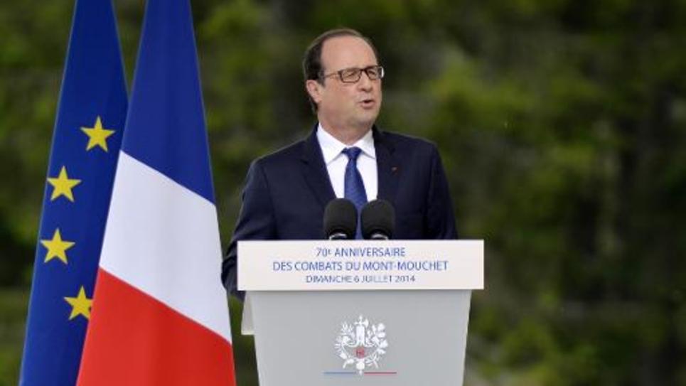 François Hollande fait un discours le 6 juillet 2014 à Mont-Mouchet, près d'Auvers en Haute-Loire, dans le cadre du 70e anniversaire de la Résistance