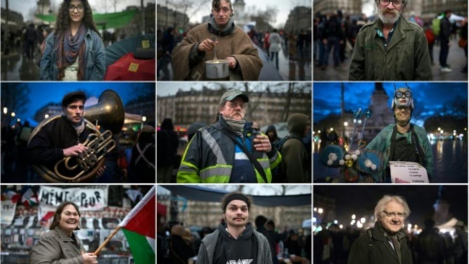 """Montage de portraits de plusieurs adeptes de la """"Nuit debout"""" le 6 mars 2016 place de la République à Paris"""