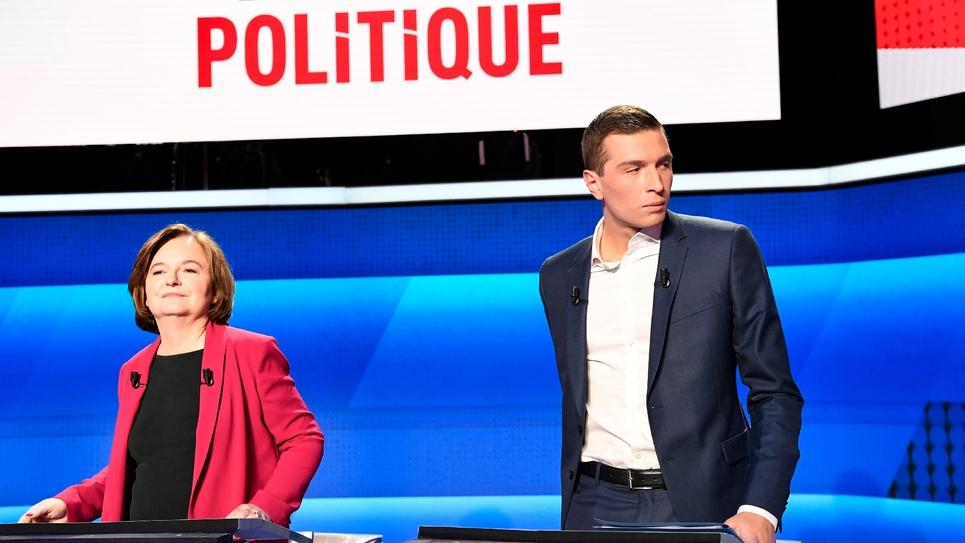Les têtes de liste aux européennes Nathalie Loiseau (LREM) et Jordan Bardella (RN) lors d'un débat sur France 2 le 4 avril 2019