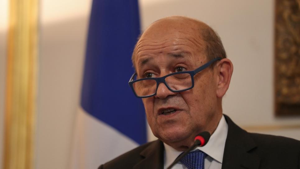 Le ministre des Affaires étrangères, Jean-Yves Le Drian, lors d'une conférence de presse au Caire, le 17 septembre 2019.