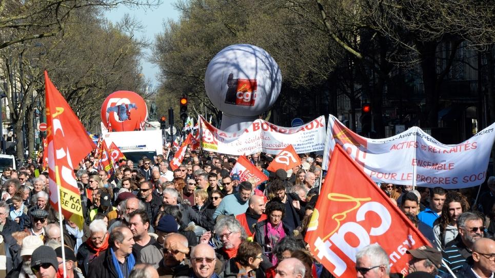 Manifestation à Bordeaux contre la réforme des retraites, le 20 février 2020