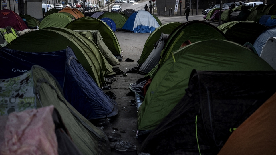 Un campement de migrants à Paris le 10 janvier 2019