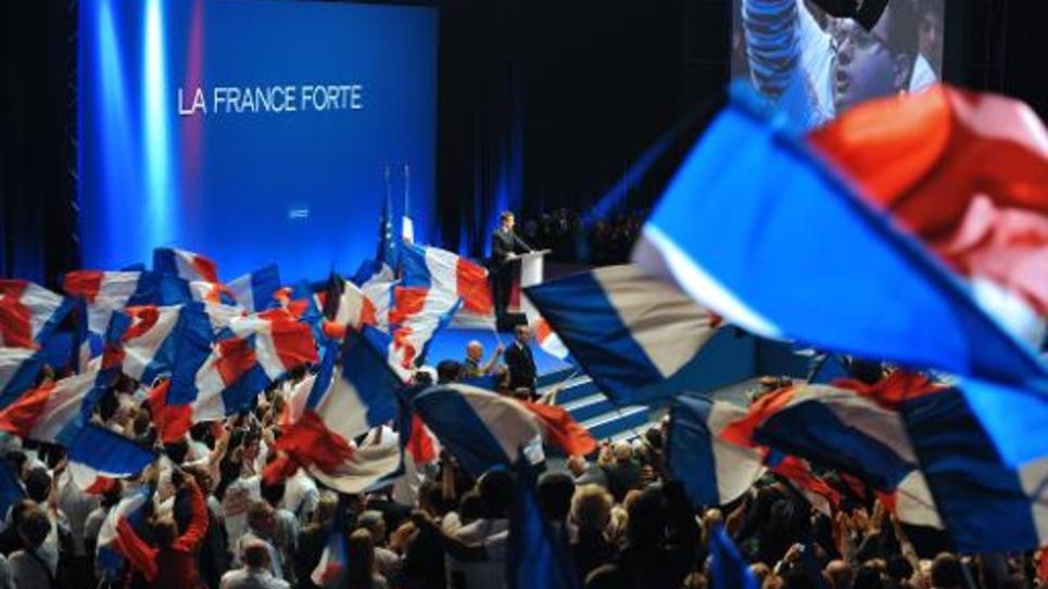 Nicolas Sarkozy en meeting électoral le 28 février 2012 à Montpellier