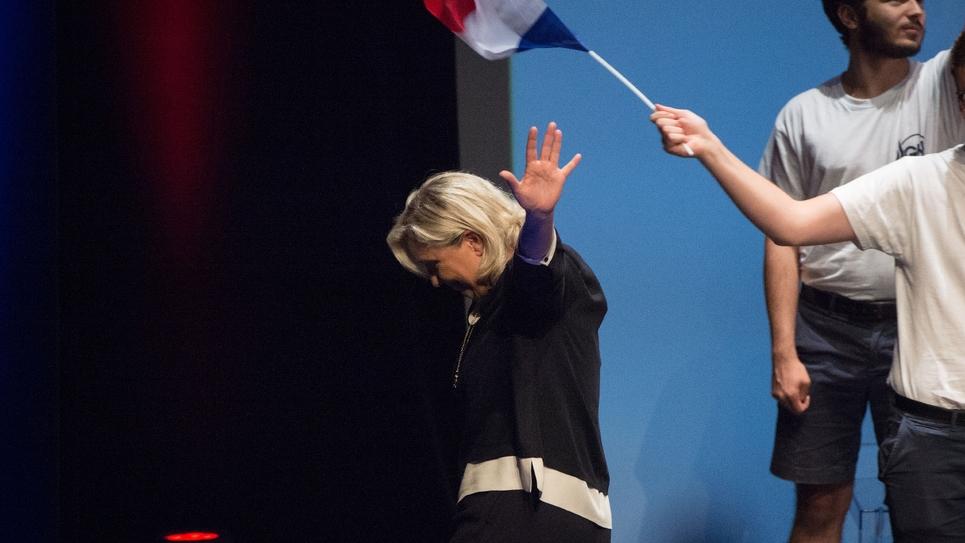 La présidente du Rassemblement national, Marine Le Pen, le 15 septembre 2019 lors de l'université d'été de son parti à Fréjus
