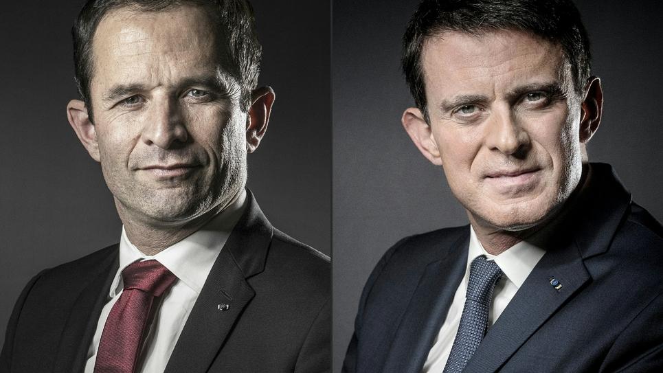 Montage réalisé le 22 janvier 2017 à Paris de deux portraits d'archives récents de Benoît Hamon et Manuel Valls