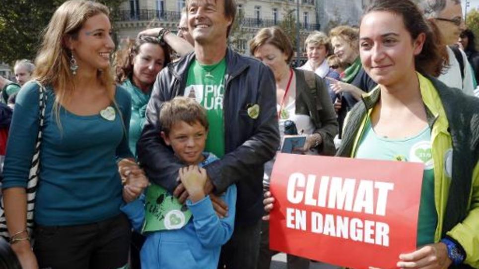 L'écologiste Nicolas Hulot lors d'une manifestation pour une meilleure lutte contre le réchauffement climatique le 21 septembre 2014 à Paris