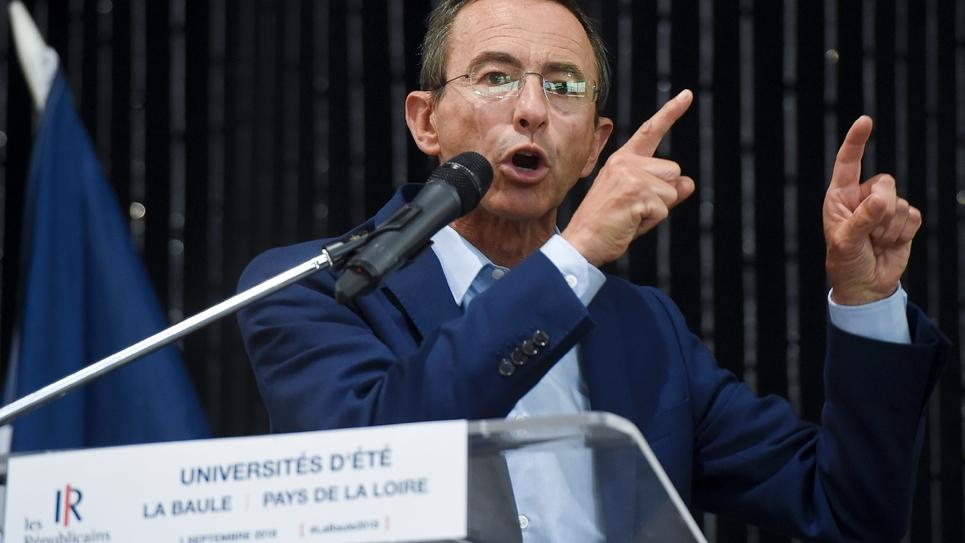 """Le président du groupe """"Les Républicains"""" (LR) au Sénat Bruno Retailleau, à l'université d'été de son parti, à la Baule, le 1er septembre 2018"""