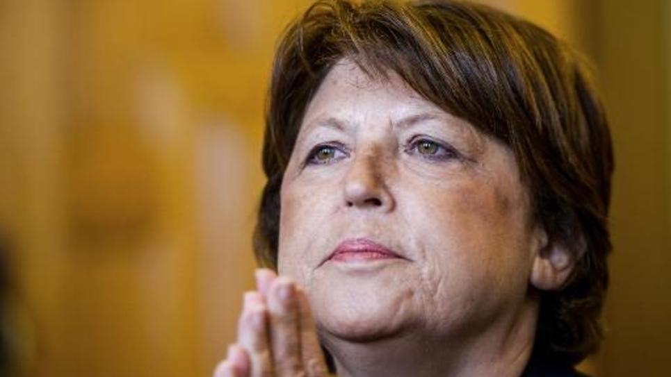 Martine Aubry, maire socialiste de Lille tient une conférence de presse dans sa ville, le 8 septembre 2014