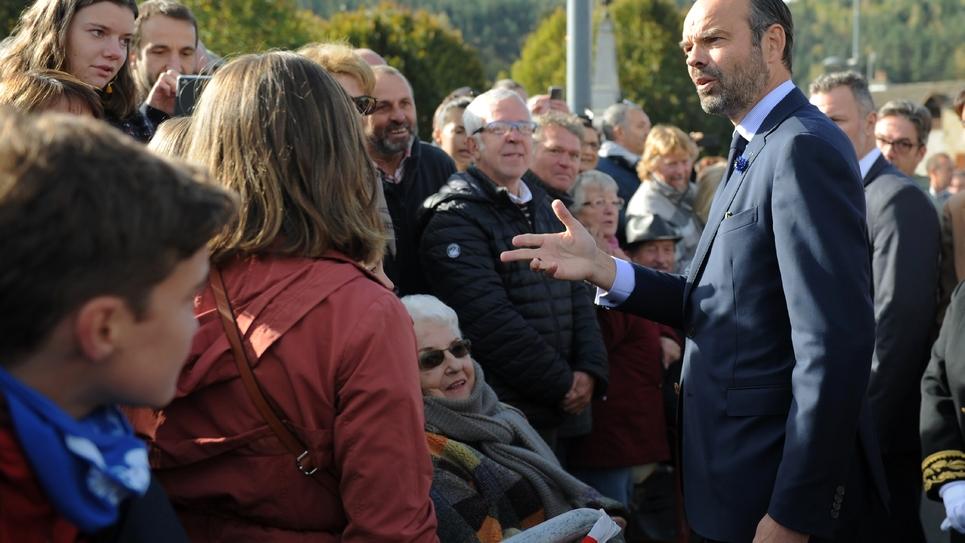 Le Premier ministre Édouard Philippe lors de son déplacement du 26 octobre 2018 à Malzieu-Ville (sud)
