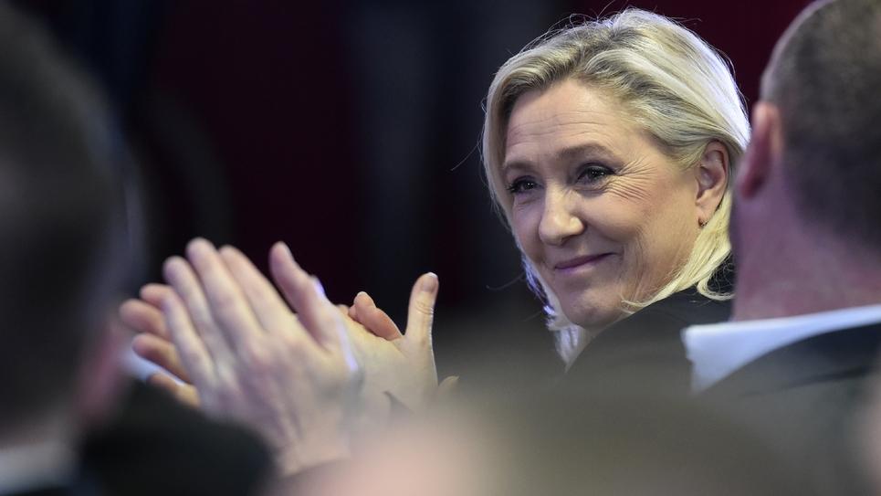La présidente du Rassemblement national, Marine le Pen, à Lens le 29 février 2020