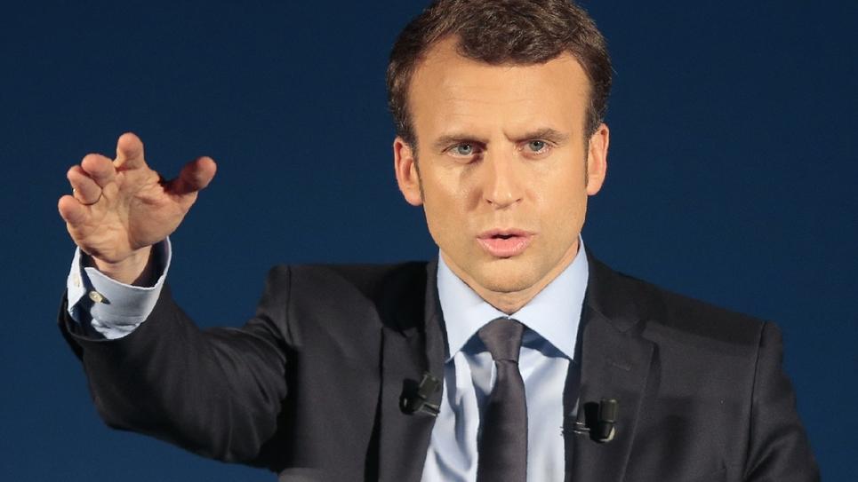 Le candidat à la présidentielle d'En marche! Emmanuel Macron le 7 avril 2017 à Furiani