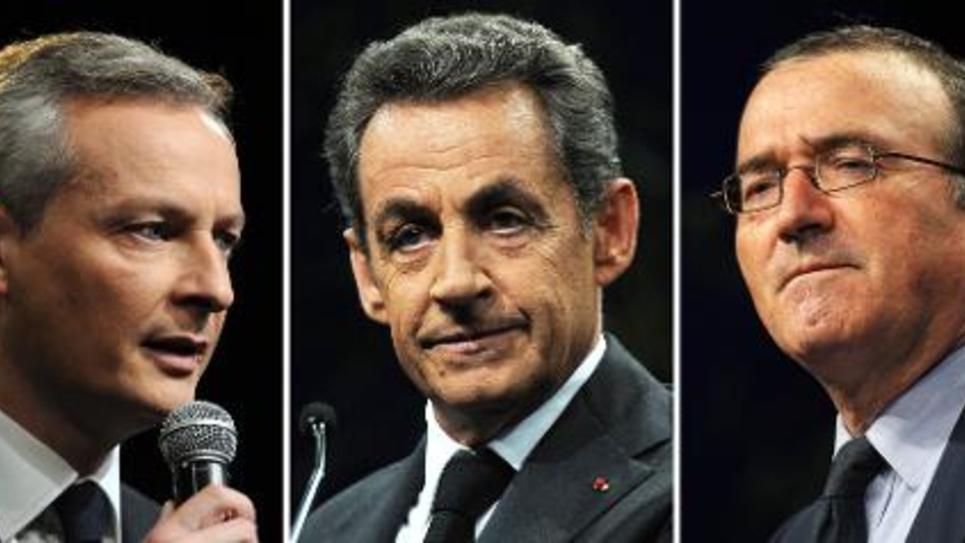 Les trois candidats à la présidence de l'UMP Bruno Le Maire, Nicolas Sarkozy et Hervé Mariton (de gauche à droite)
