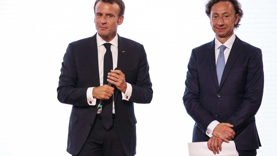Emmanuel Macron et Stéphane Bern à l'Elysée, le 31 mai 2018