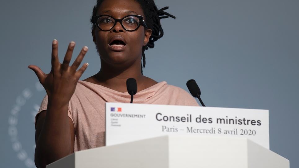 Sibeth Ndiaye à l'issue du conseil des ministres à l'Élisée, le 8 avril 2020 à Paris