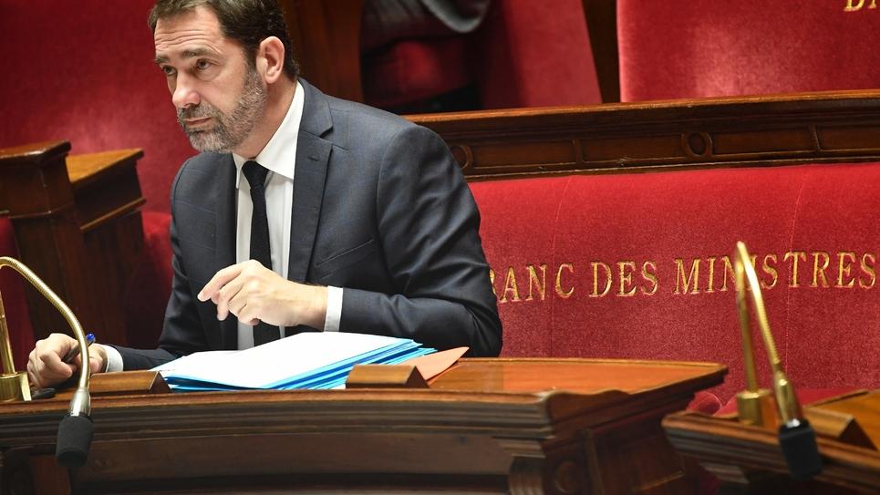 Le ministre de l'Intérieur Christophe Castaner à l'Assemblée nationale lors du débat sur la proposition de loi anticasseurs, le 5 février 2019