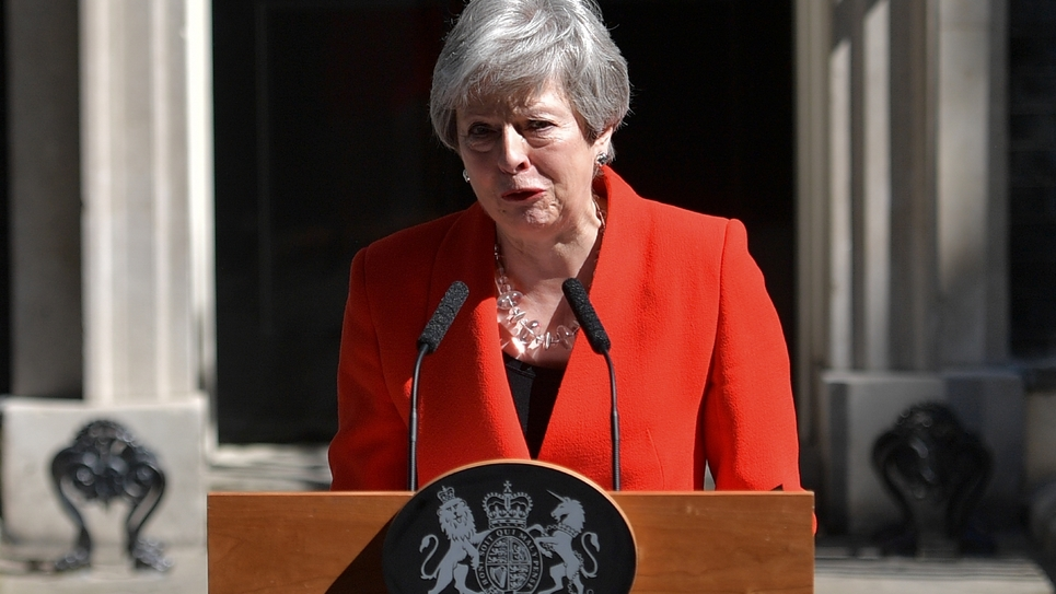 Theresa May annonce sa démission devant le 10 Downing Sreet à Londres, le 24 mai 2019