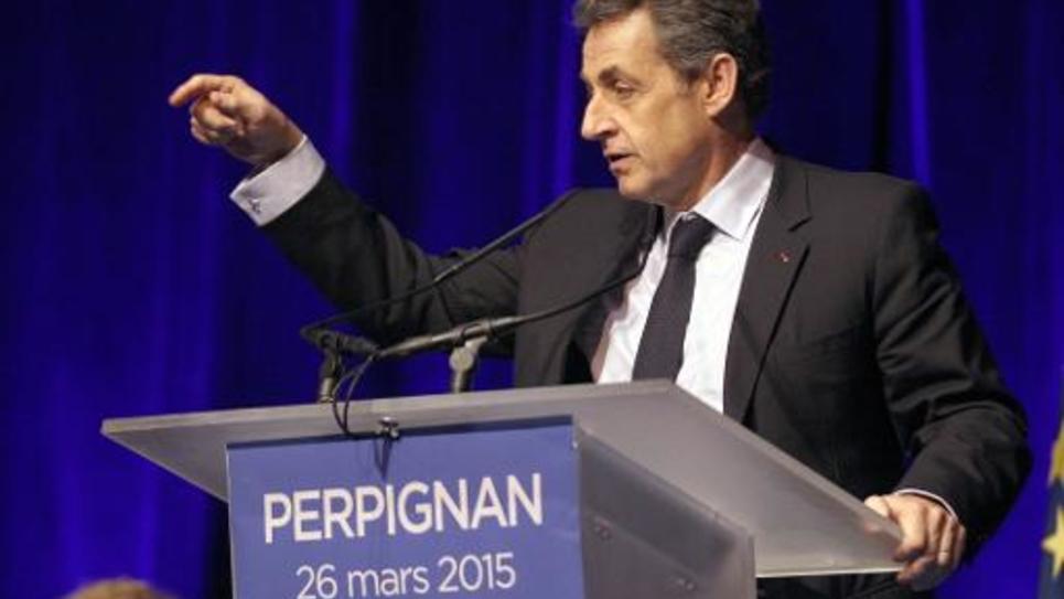L'ancien président de la République Nicolas Sarkozy, lors d'un meeting à Perpignan le 26 mars 2015