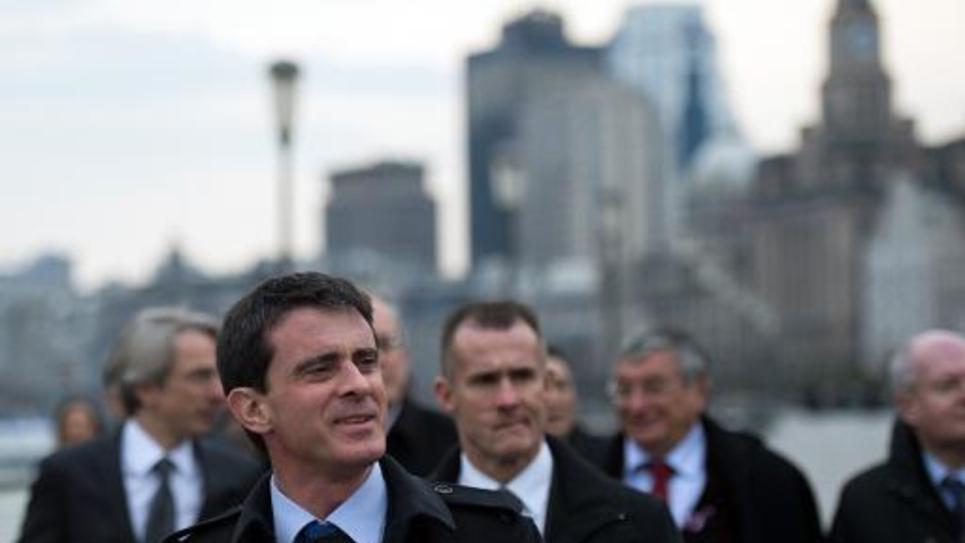 Le Premier ministre Manuel Valls sur le Bund à Shanghai, le 31 janvier 2015