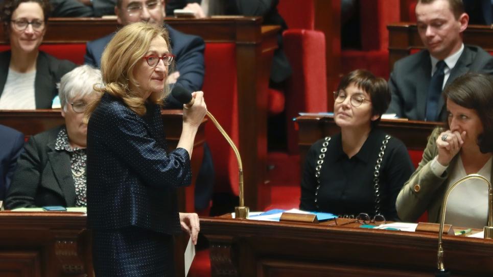 La ministre de la Justice Nicole Belloubet lors d'une séance de questions au gouvernement à l'Assemblée nationale, le 12 février 2019