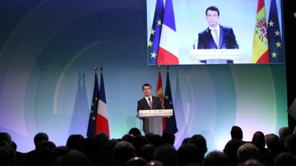 Le Premier ministre Manuel Valls à Montesquieu-des-Albères (Pyrénées Orientales), le 20 février 2015