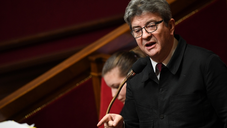 Jean-Luc Mélenchon, chef de file de La France Insoumise, à l'Assemblée nationale, le 20 décembre 2018 à Paris