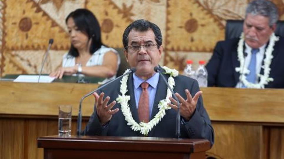 Edouard Fritch, président de la Polynésie française, fait un discours le 12 septembre 2014 à Papeete