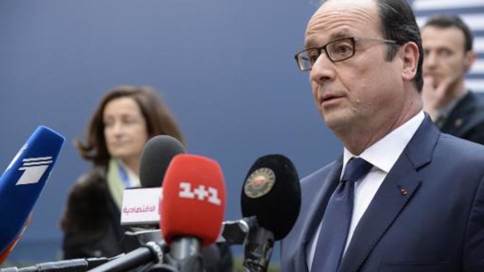 François Hollande, le 12 février 2015 à son arrivée à Bruxelles