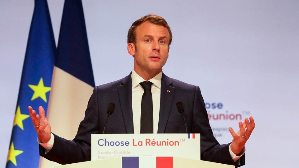 """Emmanuel Macron lors du sommet """"Choose La Reunion"""" à Saint-Denis de la Reunion le 23 octobre 2019"""