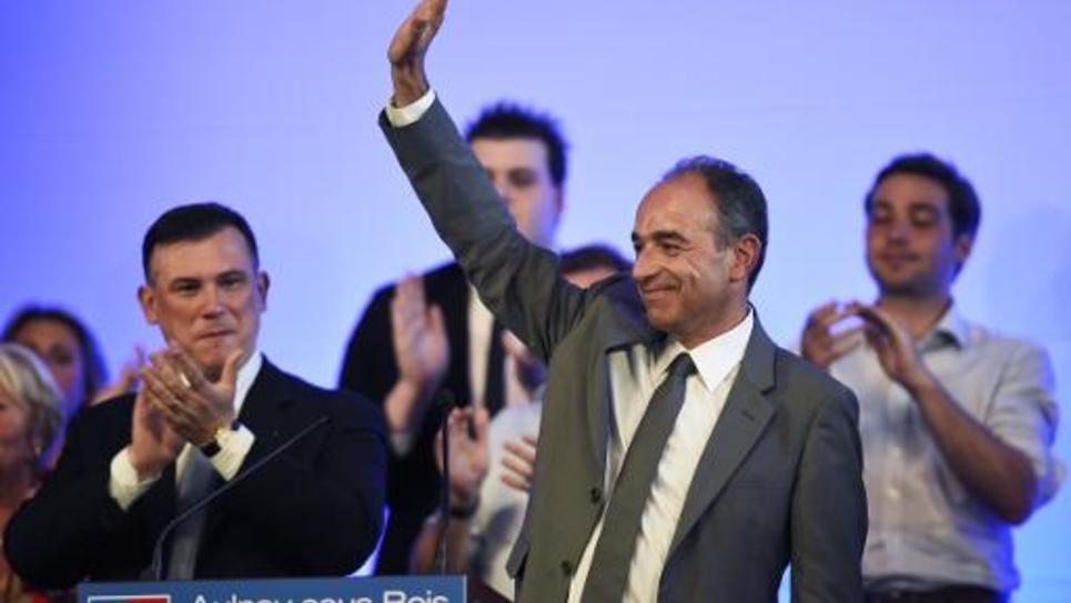 Jean-François Copé, président démissionnaire de l'UMP, lors de son dernier meeting, le 11 juin 2014 à Aulnay-sous-Bois