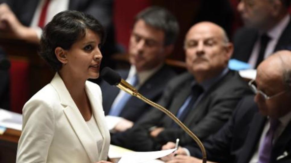 La ministre de l'Education  Najat Vallaud-Belkacem le 6 mai 2015 à l'Assemblée nationale à Paris